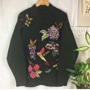 Vintage Embroidered Hummingbird Sweater